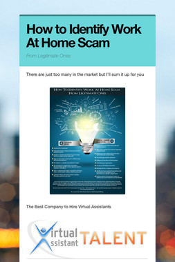 How to Identify Work At Home Scam