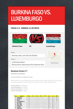 BURKINA FASO VS. LUXEMBURGO