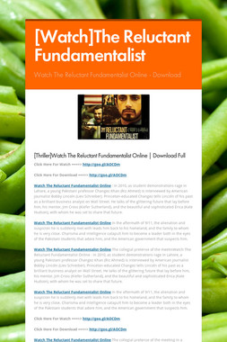 [Watch]The Reluctant Fundamentalist