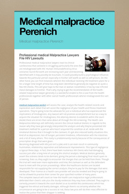 Medical malpractice Perenich