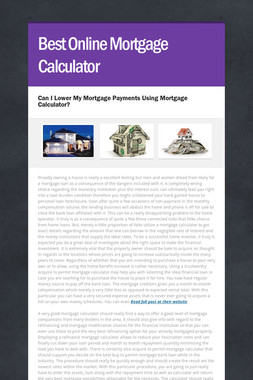 Best Online Mortgage Calculator