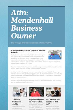 Attn: Mendenhall Business Owner