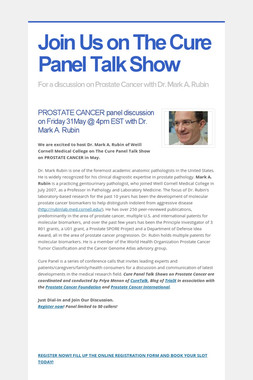 Join Us on The Cure Panel Talk Show