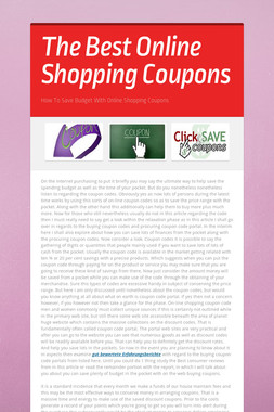The Best Online Shopping Coupons