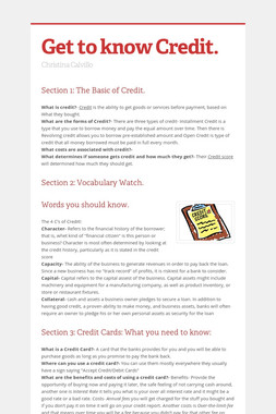 Get to know Credit.