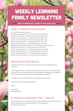 WEEKLY LEARNING FAMILY NEWSLETTER