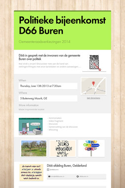 Politieke bijeenkomst D66 Buren