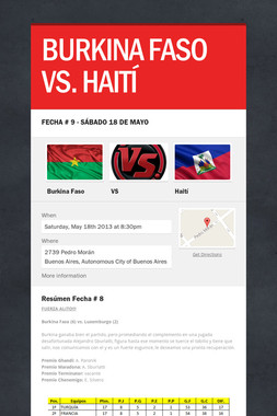 BURKINA FASO VS. HAITÍ