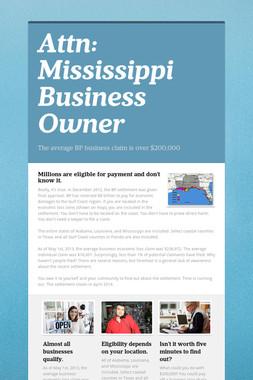 Attn:  Mississippi Business Owner