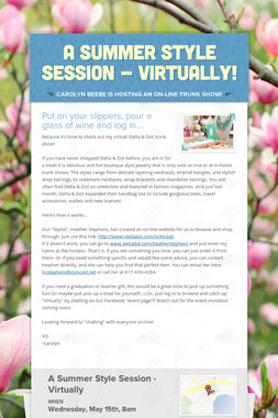 A Summer Style Session - Virtually!