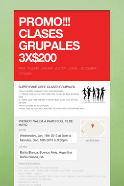 PROMO!!! CLASES GRUPALES  3X$200