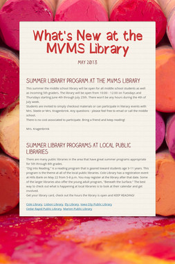 What's New at the MVMS Library