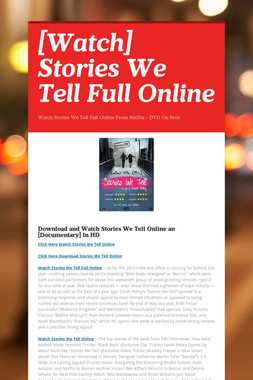 [Watch] Stories We Tell Full Online
