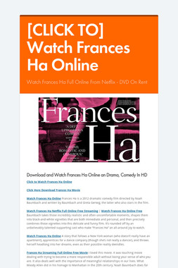 [CLICK TO] Watch Frances Ha Online