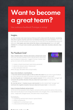 Want to become a great team?