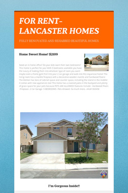 FOR RENT- LANCASTER HOMES