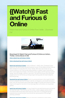 {{Watch}} Fast and Furious 6 Online