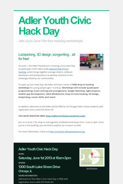 Adler Youth Civic Hack Day