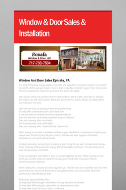 Window & Door Sales & Installation