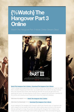 {%Watch} The Hangover Part 3 Online