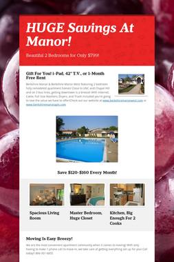 HUGE Savings At Manor!