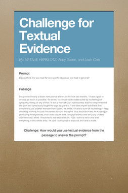 Challenge for Textual Evidence