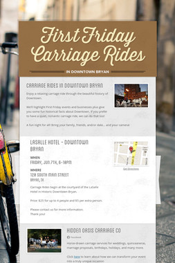 First Friday Carriage Rides