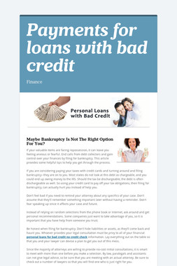 Payments for loans with bad credit