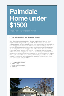 Palmdale Home under $1500