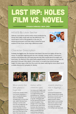 Last IRP: HOLES film vs. novel