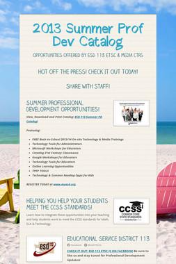 2013 Summer Prof Dev Catalog