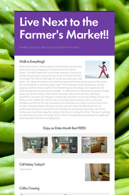 Live Next to the Farmer's Market!!