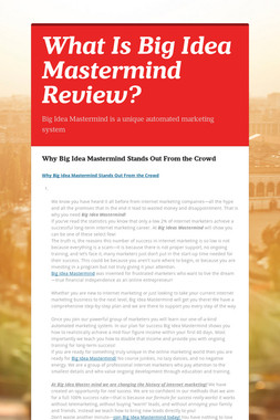 What Is Big Idea Mastermind Review?