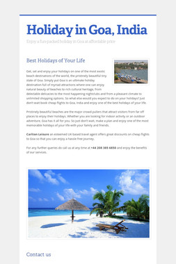 Holiday in Goa, India