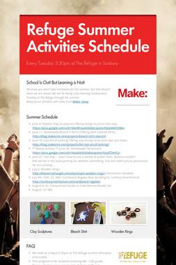 Refuge Summer Activities Schedule