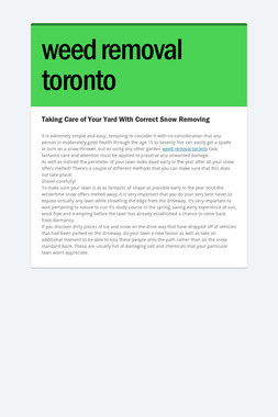 weed removal toronto
