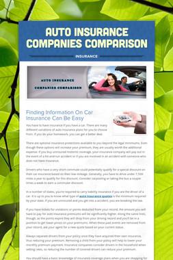 Auto Insurance Companies Comparison