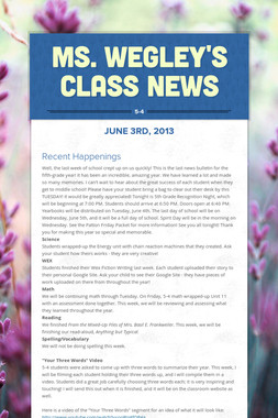 Ms. Wegley's Class News