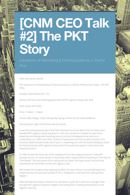 [CNM CEO Talk #2] The PKT Story