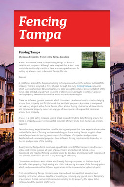 Fencing Tampa