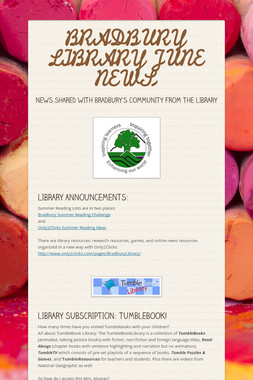 BRADBURY LIBRARY JUNE NEWS