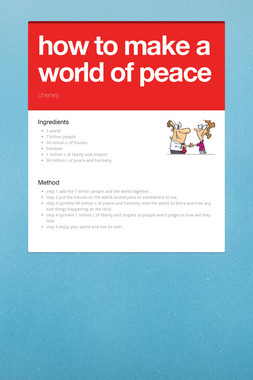 how to make a world of peace