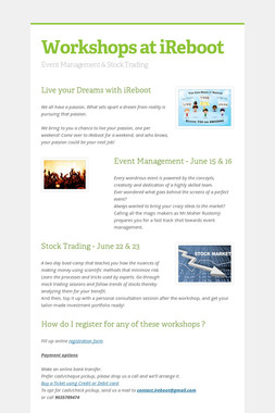 Workshops at iReboot