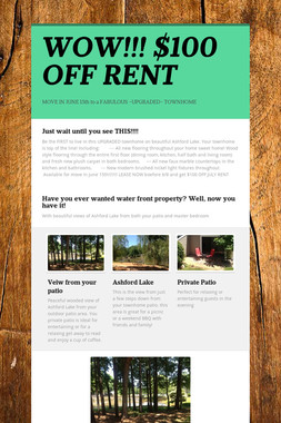 WOW!!!  $100 OFF RENT