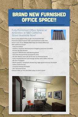 BRAND NEW Furnished Office Space!!