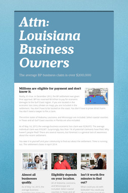 Attn:  Louisiana Business Owners
