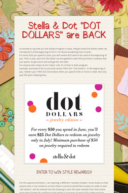 "Stella & Dot ""DOT DOLLARS"" are BACK"