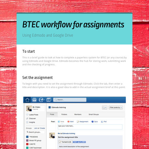 BTEC workflow for assignments