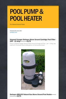 POOL PUMP & POOL HEATER