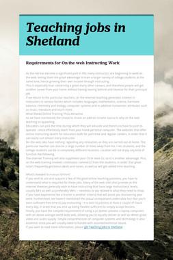 Teaching jobs in Shetland